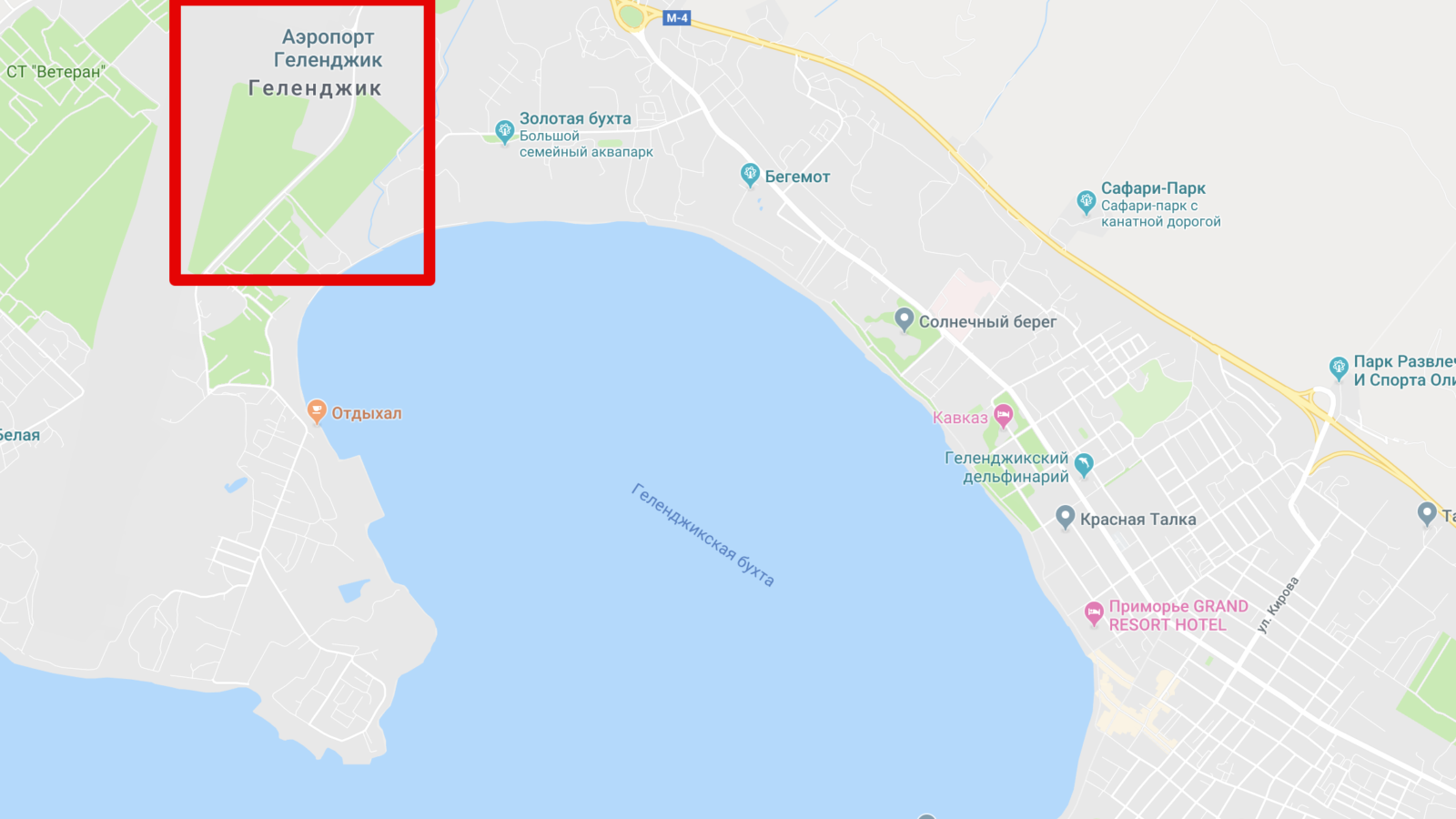 Аэропорт на карте Геленджика