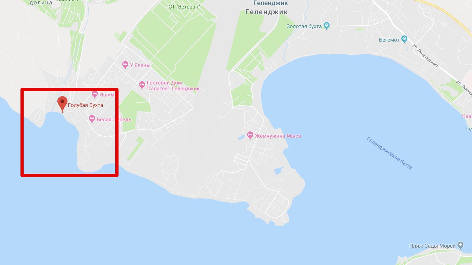 Голубая бухта на карте Геленджика