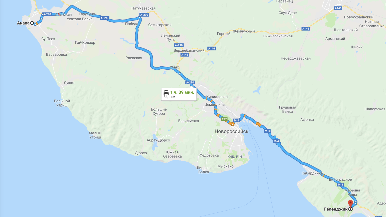 Карта Анапа-Геленджик