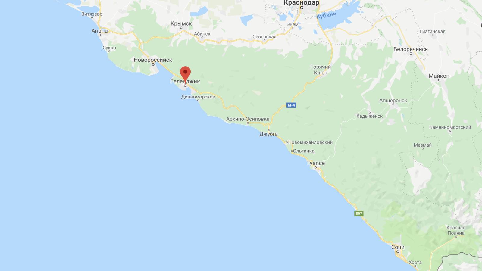 Карта Геленджика на черноморском побережье